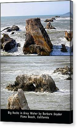 Canvas Print featuring the photograph Big Rocks In Grey Water Duo by Barbara Snyder