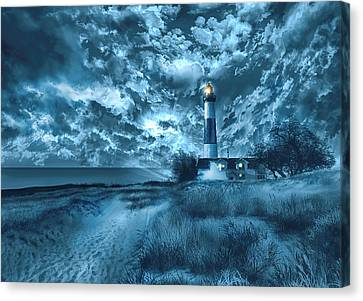 Storm Canvas Print - Big Sable Lighthouse 3 by Bekim Art
