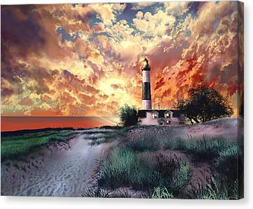 Beach Scenes Canvas Print - Big Sable Lighthouse by Bekim Art
