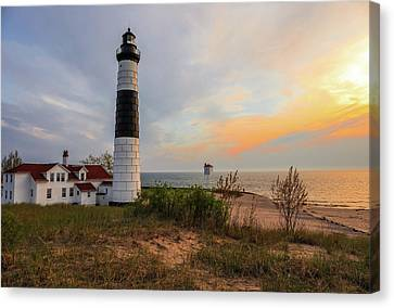 Big Sable Point Lighthouse At Sunset Canvas Print