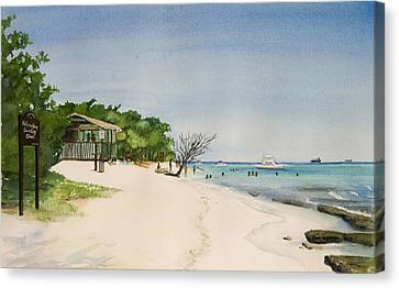 Big Sand At Lime Cay Canvas Print by Anji Worton