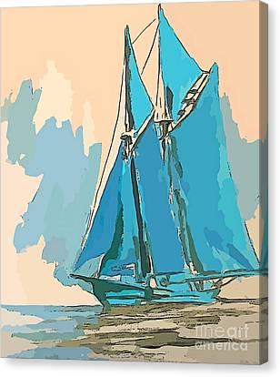 Bluenose Canvas Print - Big Schooner Abstract by John Malone