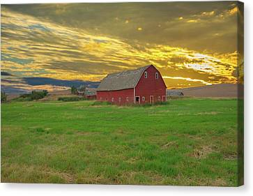big sky country barn Montana Canvas Print by Randall Branham