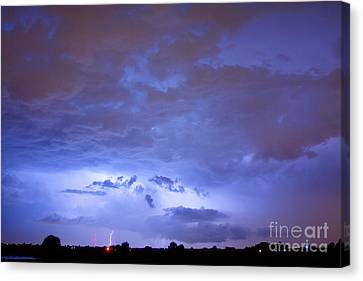 Thunderstorm Canvas Print - Big Sky With Small Lightning Strikes In The Distance by James BO  Insogna