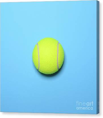 Tennis Canvas Print - Big Tennis Ball On Blue Background - Trendy Minimal Design Top V by Aleksandar Mijatovic