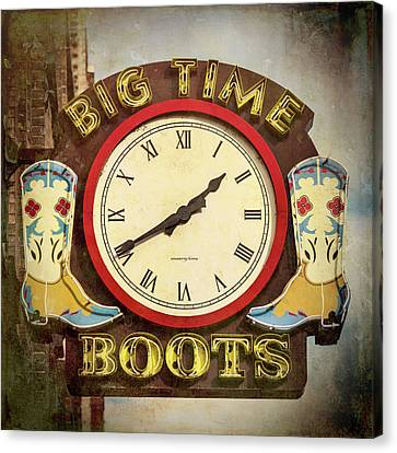 Downtown Nashville Canvas Print - Big Time Boots - Nashville by Stephen Stookey