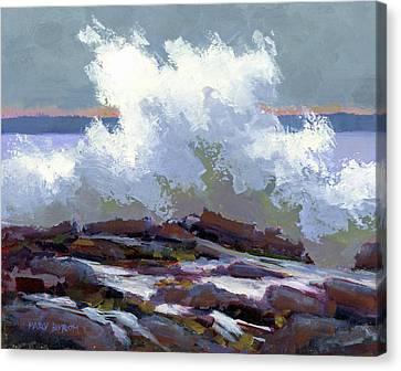 Big Waves On The Marginal Way Canvas Print by Mary Byrom