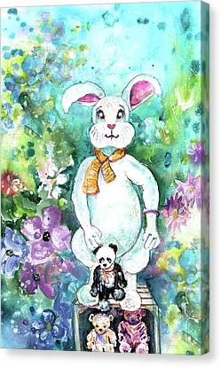 Big White Rabbit And Teddy Bears In A Flower Shop Canvas Print by Miki De Goodaboom