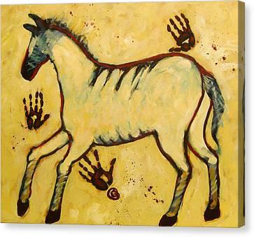Big Yellow Lascaux Horse Canvas Print by Carol Suzanne Niebuhr