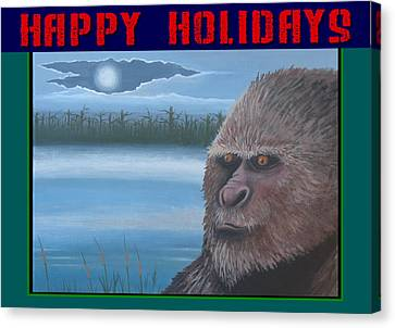 Bigfoot Happy Holidays Canvas Print by Stuart Swartz