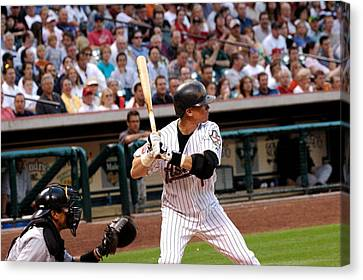 Biggio Batting Canvas Print by Teresa Blanton