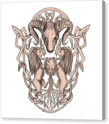 Bighorn Sheep Lion Tree Coat Of Arms Celtic Knotwork Tattoo Canvas Print by Aloysius Patrimonio