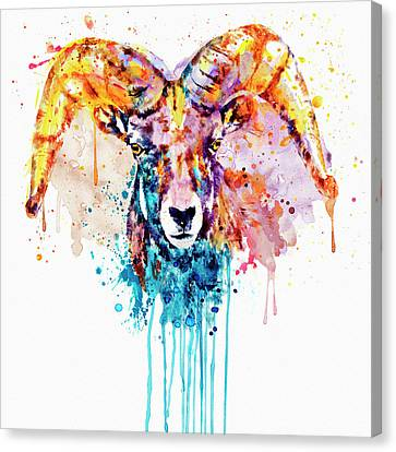 Canvas Print featuring the mixed media Bighorn Sheep Portrait by Marian Voicu