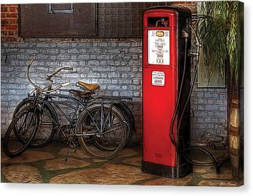 Bike - Two Bikes And A Gas Pump Canvas Print by Mike Savad
