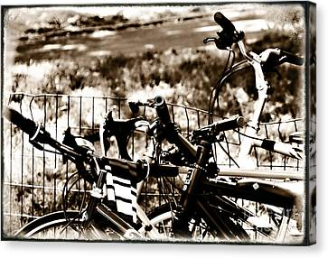 Bike Against The Fence Canvas Print by Madeline Ellis