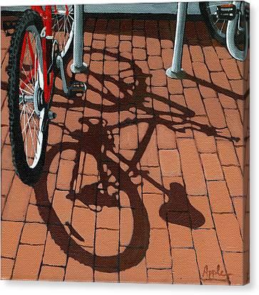 Bike And Bricks  Canvas Print by Linda Apple