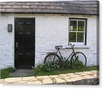 Bike And Irish Cottage Canvas Print