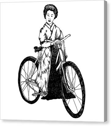 Bike Geisha Canvas Print by Karl Addison
