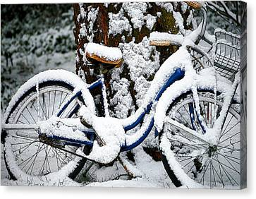 Bike In The Snow Canvas Print
