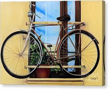 Bike In The Window Canvas Print