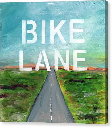 Bike Lane- Art By Linda Woods Canvas Print by Linda Woods
