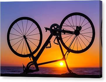 Bike On Seawall Canvas Print by Garry Gay
