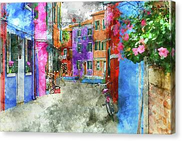 Bike On The Wall On The Island Of Burano - Venice, Italy Canvas Print by Brandon Bourdages