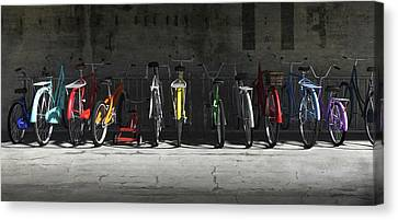 Drama Canvas Print - Bike Rack by Cynthia Decker