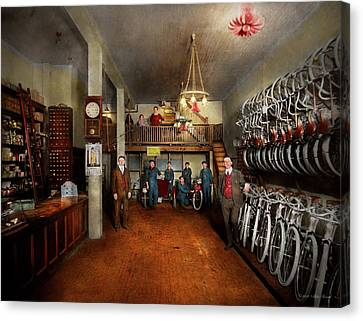 Canvas Print - Bike - Store - Haverford Cycles 1919 by Mike Savad