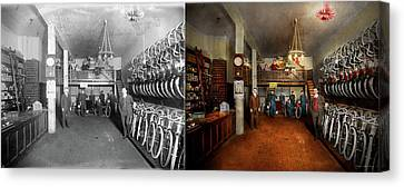 Canvas Print - Bike - Store - Haverford Cycles 1919 - Side By Side by Mike Savad