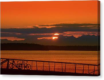 Bike Sunset Canvas Print