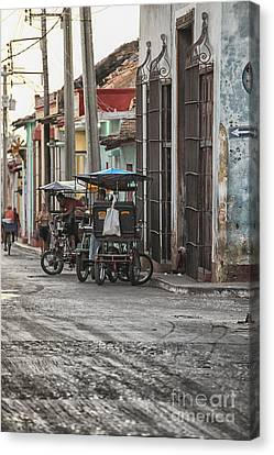 Bike Taxis In Trinidad Canvas Print by Patricia Hofmeester