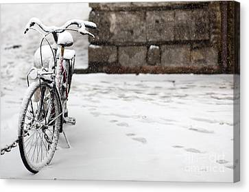 Bike Under The Snow Canvas Print