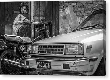 Bike Vs Car Canvas Print