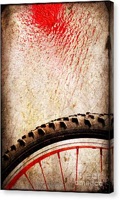Bike Wheel Red Spray Canvas Print