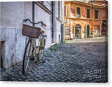 Bike With Basket On Streets Of Rome Canvas Print by Edward Fielding