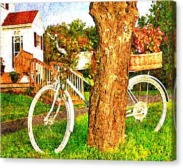 Bike With Flowers Canvas Print