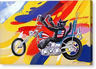 Biker Cat Canvas Print