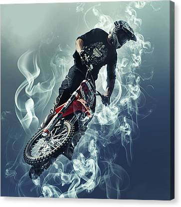 Flying In The Sky - Biker In Smoke Canvas Print