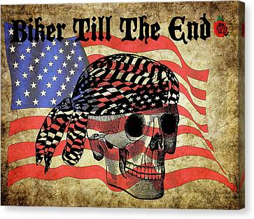 Biker Skull American Flag Old Paper Art Canvas Print