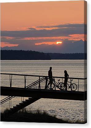 Bikers At Sunset Canvas Print