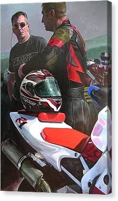Canvas Print featuring the painting Bikers At The Horseshoe Pass by Harry Robertson