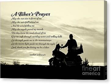 Biker's Prayer Canvas Print