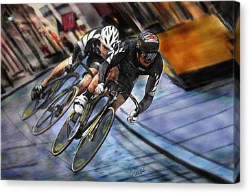 Canvas Print featuring the painting Bikers by Robert Smith