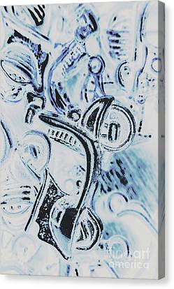 Bikes And Blue Cities Canvas Print