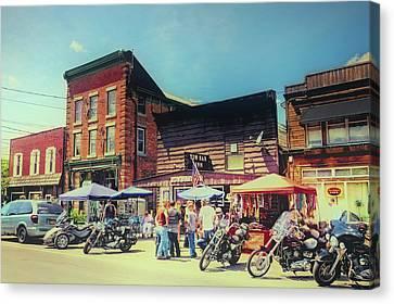 Bikes And Brews A Vintage Postcard Canvas Print