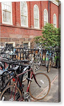 Bikes At Harvard Canvas Print by James Kirkikis
