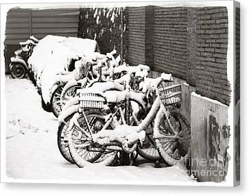 Bikes Parked And Full Of Snow Canvas Print by Stefano Senise