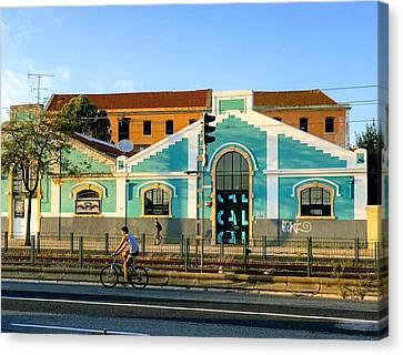 Biking In Lisboa Canvas Print