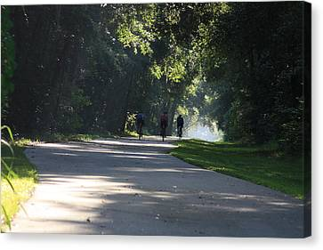 Canvas Print featuring the photograph Biking by Michael Albright